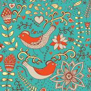 Seamless texture with flowers and birds. endless floral pattern.seamless patt Stock Illustration