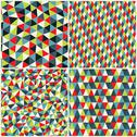 Stock Illustration of set of four geometric pattern. texture with triangles, rhombs.mosaic. abstrac