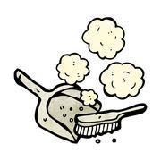 cartoon dust pan and brush - stock illustration