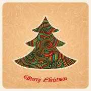 christmas tree, greeting card in christmas theme, original fir-tree made of w - stock illustration