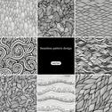 Stock Illustration of set of eight black and white wave patterns (seamlessly tiling).seamless patte