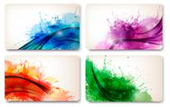 Stock Illustration of collection of colorful abstract watercolor cards. vector