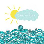 Sea illustration with sun and cloud, maritime background with place for your  Stock Illustration