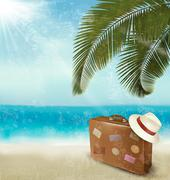Stock Illustration of vintage beautiful seaside background with suitcase and a hat. vector