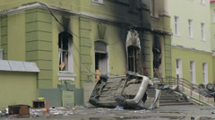 Consequences of the explosion in house Stock Footage