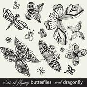 butterfly background, vintage insect set, collection of butterflies and drago - stock illustration