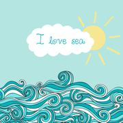 sea illustration with sun and cloud, maritime background with place for your  - stock illustration