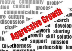 aggressive growth word cloud - stock illustration