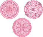 Stock Illustration of set of cute circle ornament laces in pink, mandala