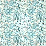Abstract floral background, summer theme seamless pattern, vector wallpaper,  Stock Illustration