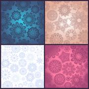 set of four ornated floral seamless texture, endless pattern with flowers loo - stock illustration