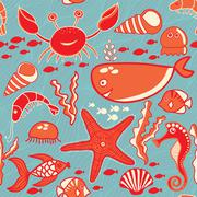 marine seamless pattern, endless texture of sea world - stock illustration