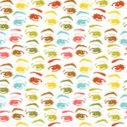 seamless background with eyes, endless eye pattern - stock illustration