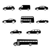 vector vehicles silhouettes - stock illustration