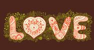 "Stock Illustration of original hand drawn word ""love"". romantic floral background with love, vector"
