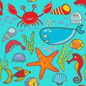 Stock Illustration of marine seamless pattern, endless texture of sea world
