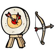 Stock Illustration of archery target and bow cartoon