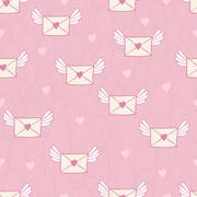 Seamless pattern with post letters. love mail. Stock Illustration