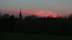Skyline with pink sunset Stock Footage