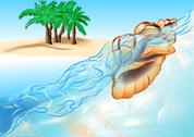 Stock Illustration of shell and beach