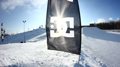 DC flag in snow park Stock Footage
