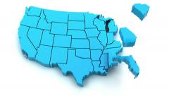 Stock Video Footage of 3d animation of US map formed by individual states