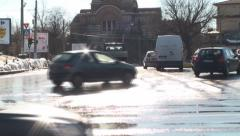 Orthodox Church With Traffic And Sun Flare Tilt-Shot Stock Footage
