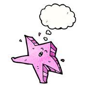 cartoon pink starfish - stock illustration