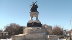 Sanitary Heroes Statue In Bucharest Still-Shot Stock Footage