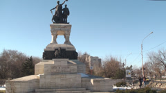 Sanitary Heroes Statue In Bucharest Pan-Shot - stock footage