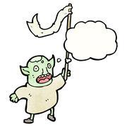 Stock Illustration of cartoon goblin waving flag