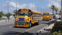 School bus in San Juan, Puerto Rico Stock Footage