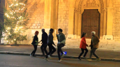 Street Dancers teenagers do a dance choreography in a street in Sarajevo Stock Footage