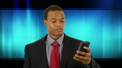 businessman on cell tech blue wave background - stock footage