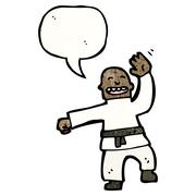 Cartoon man performing a karate chop Stock Illustration