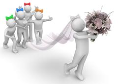 lifestyle collection - bride and bridesmaids - stock illustration