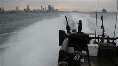 Riverine Command Boat Training Stock Footage
