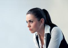 thoughtful latina isolated - stock photo