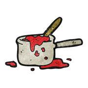 Stock Illustration of cartoon messy saucepan