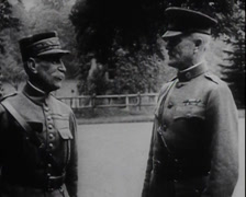 WW1 - US Soldiers - Marching In Europe 01 - General Pershing Stock Footage