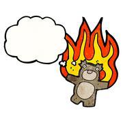 Stock Illustration of burning teddy bear cartoon