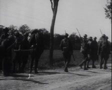 WW1-US-SoldiersMarchingInEurope02-GeneralPershingWatches Stock Footage