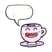 Stock Illustration of cartoon teacup with speech bubble