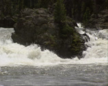 Stock Video Footage of Yellowstone river - high water level in spring.