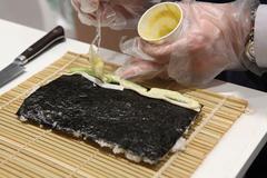 preparation japanese sushi - stock photo