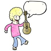 Cartoon sixties guitar player Stock Illustration