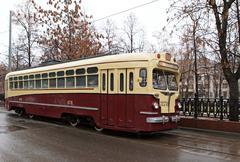 retro tram - stock photo