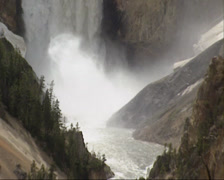 Lower Falls in Yellowstone river + zoom out Grand Canyon Stock Footage