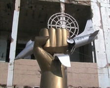 Gaddafi's destroyed residence - stock footage