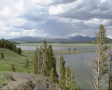 Panoramic view of flooded Hayden Valley, Yellowstone National Park in spring Stock Footage